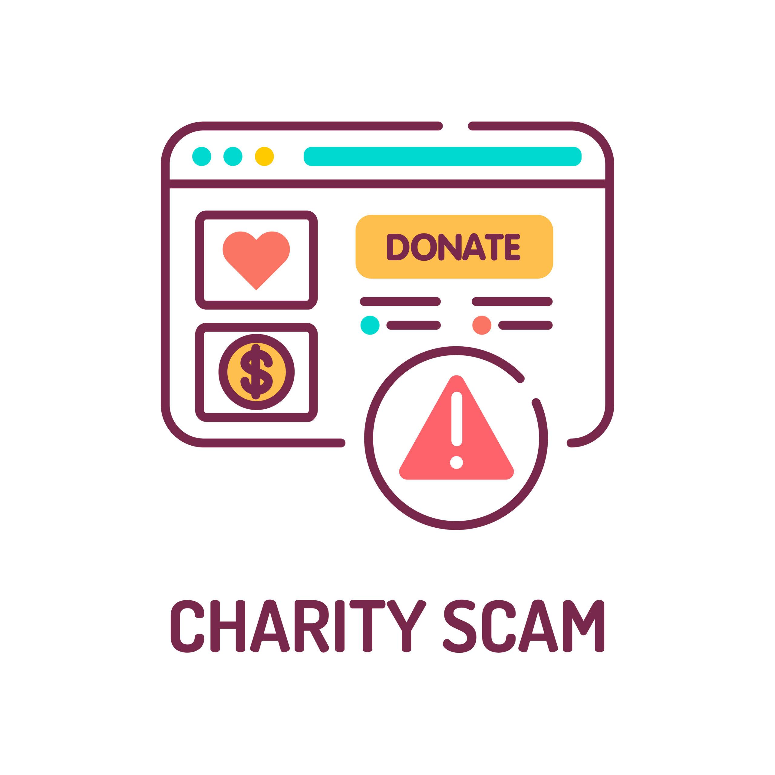 Charity Scam Color Line Icon. Cybercrime. Fake Donation. Pictogram For Web Page, Mobile App, Promo. Ui Ux Gui Design Element. Editable Stroke.